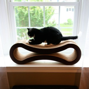 Petfusion Corrugated Cardboard Scratcher is not only pleasing to the eyes, it's also made with non-toxic glues. The curved design invites the cat to scratch the post.