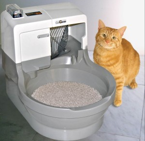 The CatGenie automatic litterbox features re-usable, washable litter. It's a complete hands-off solution as the litterbox does all the cleaning for you.