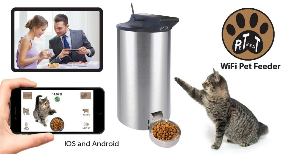 You can control the Petpal automamic pet food dispenser by wifi and apps.